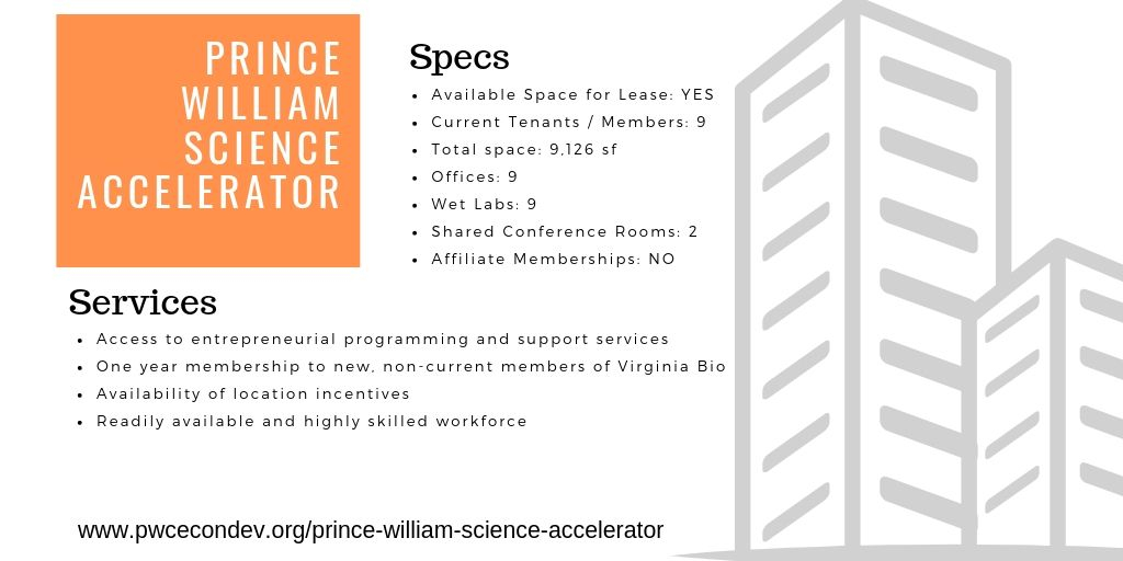 Prince William Science Accelerator at the Virginia Innovation Park, incubator information