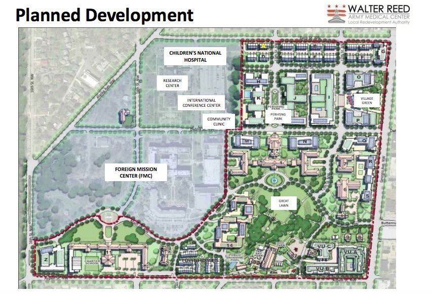 Walter Reed Army Medical Center Planned Redevelopment Project in Upper Georgia Avenue district