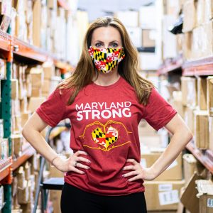 Von Paris is wearing a Maryland Strong shirt and mask, part of Route One Apparel's coronavirus pandemic-inspired line